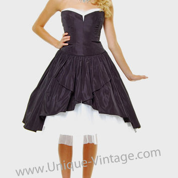 Black & Ivory Graceful Layered Strapless Homecoming Dress - Unique Vintage