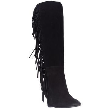 Denim & Supply Ralph Lauren Darcie Fringe Wedge Boots, Black Suede, 5 US / 36 EU