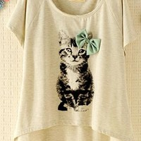 Kitten with Bowtie T-shirt WRX812 from topsales