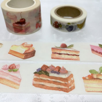 Berry Cake washi tape 10M x 3cm handmade cake slice cake party invitation label sticker tape decor sticker party cake planner wide tape