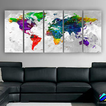 "XLARGE 30""x70"" 5 Panels 30""x14"" Ea Art Canvas Print Watercolor Multi Color Map World Push Pin Travel Wall decor (framed 1.5"" depth)M1812"