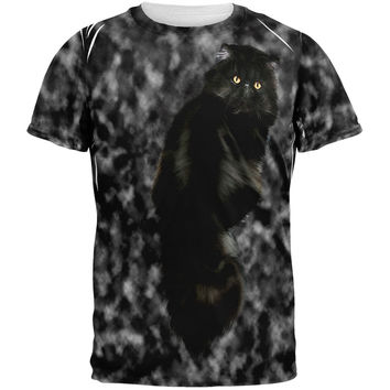 Tie Dye Black Cat All Over Adult T-Shirt