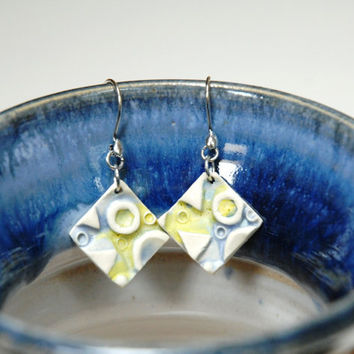 Square clay earrings,Pottery earrings,blue yellow earrings,geometric earrings,dangle earings,blue pottery earings,sterling silver clay