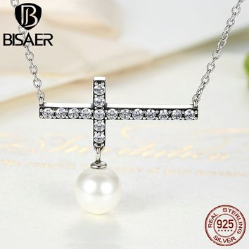 Pure Vintage Collares 925 Sterling Silver Cross Link Chain Imitation Pearl Necklaces & Pendants Vintage Sterling Silver Jewelry
