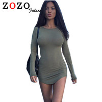 Falacs zozo Women Clothing Autumn Long Sleeve Mini Bodycon Tunic Slim Party Sexy Clubwear Side Split Tshirt Bandage Dress