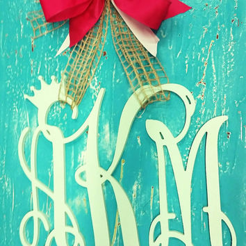 Wooden monogram with a crown door decor