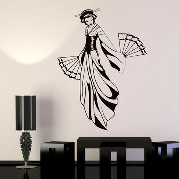 Vinyl Wall Decal Geisha With Fan Japanese Girl Asian Style Stickers Unique Gift (1128ig)