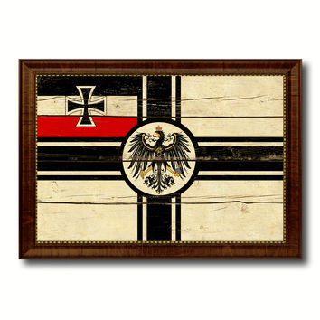 Imperial German Navy 1867-1871 War Military Flag Vintage Canvas Print with Brown Picture Frame Gifts Ideas Home Decor Wall Art Decoration