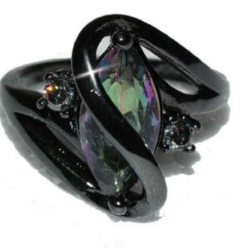 Swirl Marquise Cut Mystic Rainbow CZ Black Gun Ring
