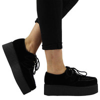 WOMENS LADIES FAUX SUEDE PUNK GOTH STUD DOUBLE PLATFORM FLAT CREEPER SHOES SIZE