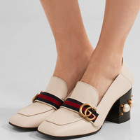 Gucci - Logo and faux pearl-embellished leather collapsible-heel pumps