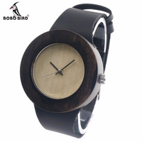 BOBO BIRD Retro Round Women's Wooden Watches With real leather bands top brand designer classic style dress watches for women