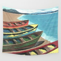 Boats In A Row Wall Tapestry by Kathleen Sartoris