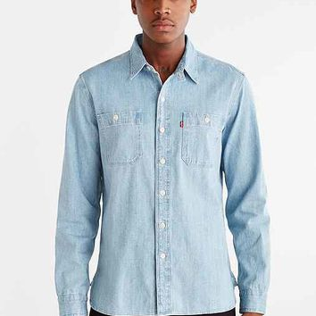 Levi's Light Crackle Denim Button-Down Shirt- Light Blue
