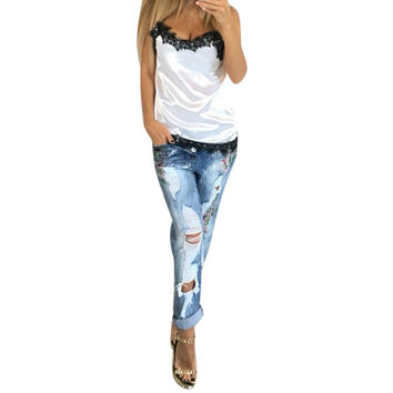 T-Shirt Sexy Women Camisoles  Summer Casual Lace Patchwork Vest Tops Sleeveless Tank Tops