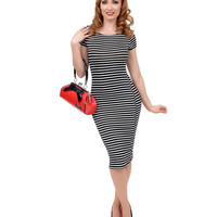 Black & White Striped Short Sleeve Stretch Knit Pencil Dress