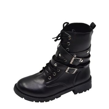Ladies Leather Punk, Goth, Army Combat Vintage Motorcycle Boots with Rivets and Buckles