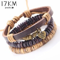 17KM 3 PCS/SET Brand New Vintage Leather Heart Bracelet Charm Wristband Bracelet for Women Men Beads Jewelry pulseira masculina