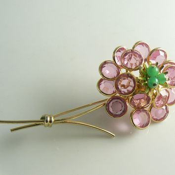 Corocraft bezel set pink crystal flower pin