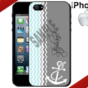 iPhone Case - Chevron Anchor iPhone - Personalized iPhone 4 Case or iPhone 5 Case - Personalized Plastic iPhone Case
