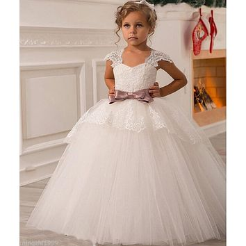 2017 NEW Wedding Party Formal Flower Girls Dress baby Pageant dresses Birthday Communion Toddler Kids TuTu Dress For Wedding