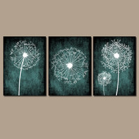 DANDELION Wall Art Prints Flower Artwork Teal Custom Colors Grunge Background Prints Bedroom Wall Art Bathroom Decor Dorm Set of 3