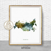 Russia Map Art, Russia Print, Watercolor Map, Map Painting, Map Artwork, Country Art, Office Decorations, Country Map Art Print Zone