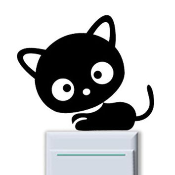 DIY Cat Print Switch Sticker Room Window Wall Decorating Switch Vinyl Decal Sticker Decor Cartoon Stickers Muraux Pour Enfants