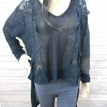 Black Sheer Sweater - MEDIUM