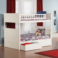 Nantucket Bunk Bed Full Over Full 2 Flat Panel Bed Drawers White Finish