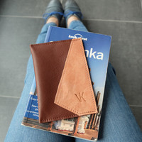 Leather passport case - Brown passport holder - Simple passport cover made of thick leather - Travel accessory