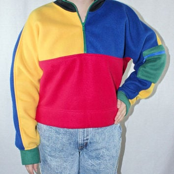 80s 90s Color Block Fleece Pullover Medium Quarter Zip ESPRIT SPORT Color Patch Vtg Vintage