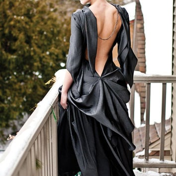 SALE Steampunk Backless Gown Diesel Punk Wedding Dress in Gunmetal Glamor - Ready to ship SMALL