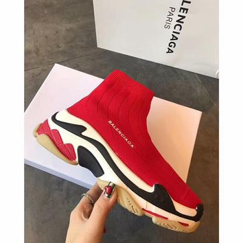 Balenciaga Women Men Fashion Breathable Socks booties Sneakers Sport Shoes Red