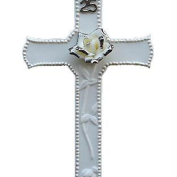 25th Silver Wedding Anniversary Wall Cross - Ready To Hang