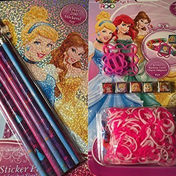 Disney Sofia the First Bundle of Three - Rainbow Loom Bracelet w/5 charms- Activity Fun Purse w/ Markers & Press on Jewels - Velvet Coloring Sheet