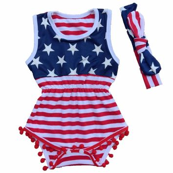 American Flag Lace Rompers Outfits