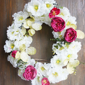18x20 inch All Season Wreath, Front Door Wreath, White And Pink Wreath, Home Décor
