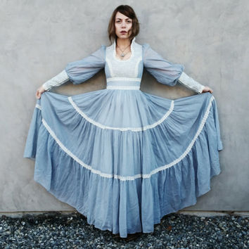 Baby Blue Gunne Sax Maxi Dress with Empire Waist, Lace Detail, Full Skirt, Poet Sleeves