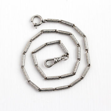 Vintage Art Deco Silver Tone Pocket Watch Chain - 1930s Swivel Clip Spring Clasp Chased Tube Panel Men's Numium Forstner Jewelry Accessory