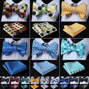 Polka Dot 100%Silk Jacquard Woven Men Butterfly Self Bow Tie BowTie Pocket Square Handkerchief Hanky Suit Set #RD2