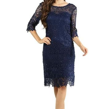 Short Formal Cocktail Lace Dress