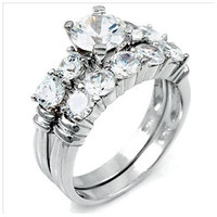 Sterling Silver 2 carat Round Cut CZ Five Stone Wedding Ring Set size 5-9