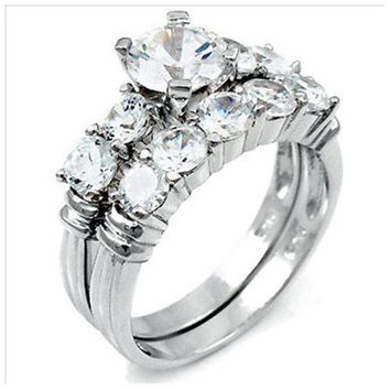 .925 Sterling Silver 2 carat Ladies Five Stone Wedding Ring Set size 5, 6, 8 Engagement Bridal