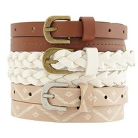 Aztec, Solid & Braided Skinny Belts: Charlotte Russe