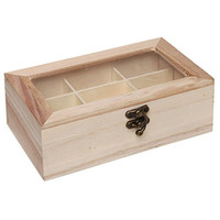 Design Your Own Unfinished Wood 9 Compartment Jewelry Box / Craft Supplies Organizer with Clear Glass Lid