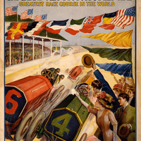 Vintage Auto Racing Poster Indianapolis Motor Speedway 1909