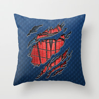 spider Peter parker man torn tee TShirt  Throw Pillow by Three Second