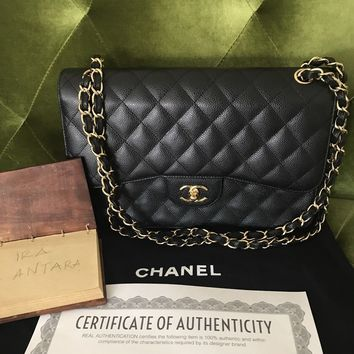 Authentic Chanel Jumbo Caviar Double Flap Black Gold Chain Shoulder Bag EUC
