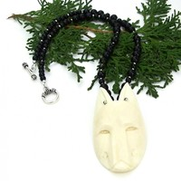 Carved Wolf Head Totem Necklace, Bone Black Onyx Handmade Jewelry for Women